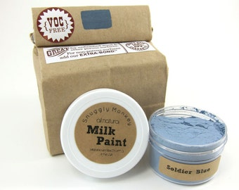 Blue Milk Paint - Non-toxic All Natural Paint Perfect for Unfinished Wood Projects- Soldier Blue