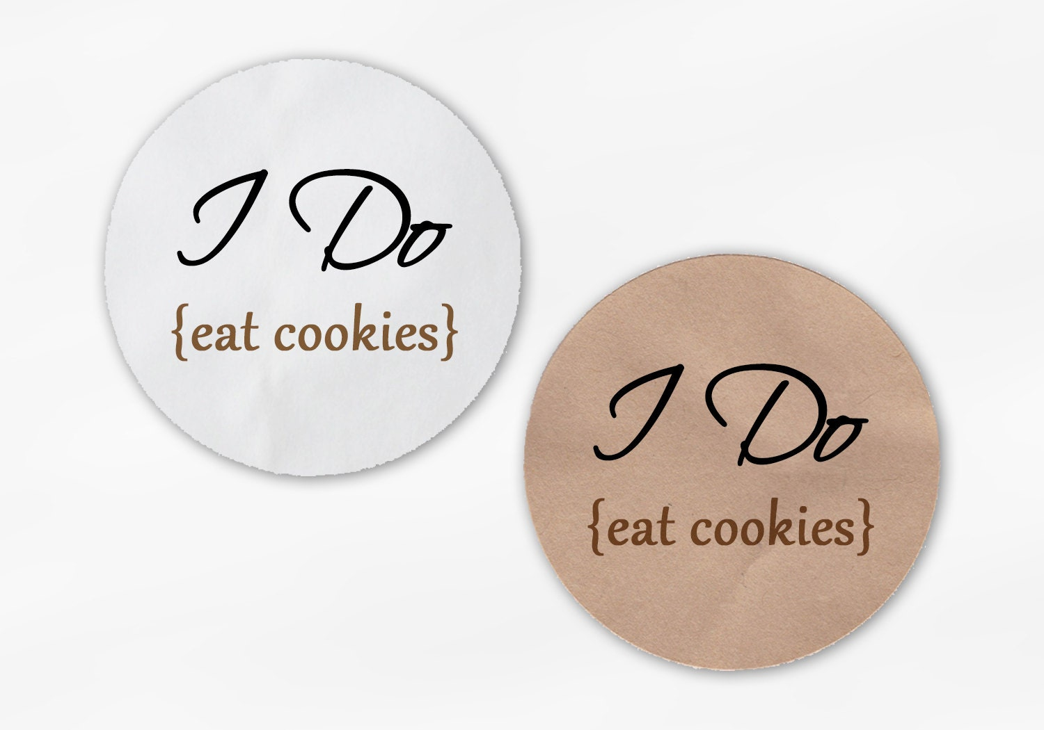 I Do Eat Cookies Wedding Favor Stickers - Black and Tan Custom White ...