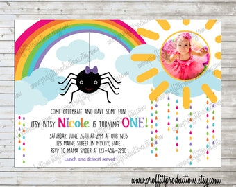 Itsy bitsy Spider rainbow photo birthday party invitation - digital file