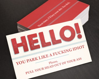 Funny gift for Dad, Budget Gift for Man, Him, Boyfriend, Husband, Dad, Brother! Bad Parking Cards! Gag Gift, Anniversary or Birthday Gift.