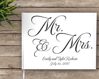 Mr. and Mrs. Wedding Guest Book, Wedding Journal, Elegant Wedding Guest Book, Black and White, Wedding Guest Book, Signature Book, Wedding