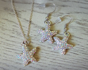 Sparkly Starfish Necklace and Earrings - Starfish Jewelry Set - Sterling Silver Starfish Necklace - Beach Jewelry - Dangle Earrings - Summer