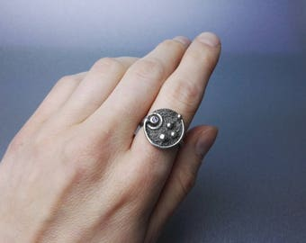 sterling silver stardust ring, one of a kind, purple zircon ring, multistone ring