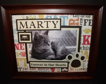 Cat Picture Frame or Memorial - Forever In Our Hearts or Any Message - Personalized - 8x10 Frame Included