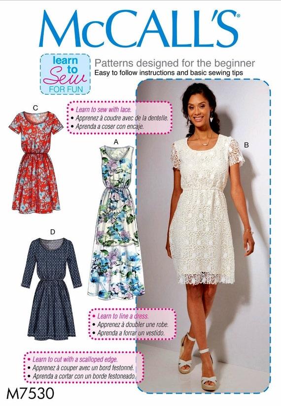 Sewing Pattern Dress Pattern, Learn to Sew Dress Pattern, Loose ...