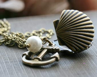 Shell Locket Necklace , Clam Shell Necklace , Locket and Anchor Necklace , Pearl Locket Necklace , Antiqued Gold Locket - Anchored