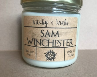 Sam Winchester 100% Soy Wax Supernatural inspired Candle
