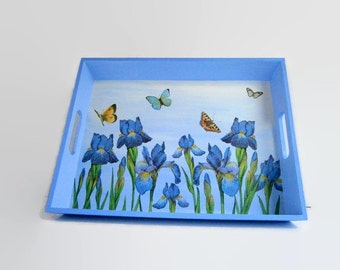 Blue irises tray - butterflies tray - blue flower tray - country style tray - springtime serving platter