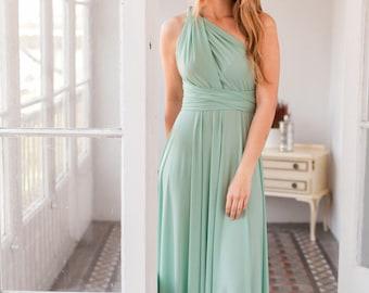 Sage green bridesmaid dress, Sage green infinity dress, Long sage green dress, Dusty shale bridesmaid dresses, Dusty shale dress, Sage dress