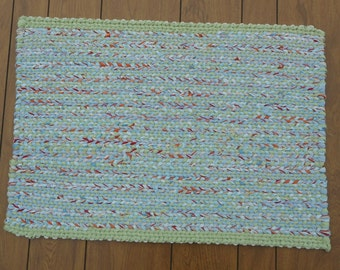 Light Blue and Light Green Rectangular Twined Rag Rug
