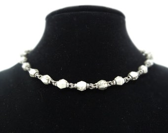 Vintage Oxidized Silver Beaded Necklace