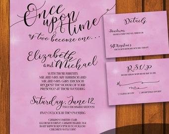 Fairytale Wedding / Vintage Wedding Suite / Pink Wedding Invitation / Fairy tale  / Pink / fairytale / Anniversary / Wedding