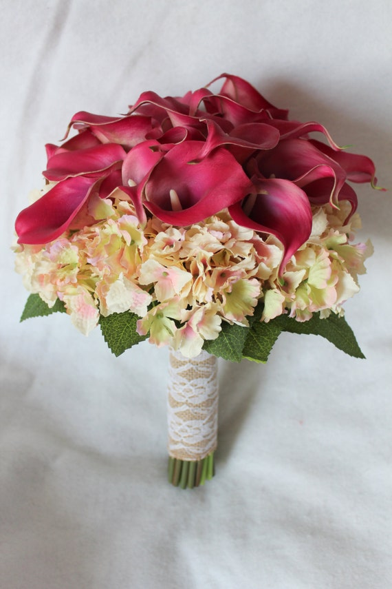 Calla Lily and Hydrangea Silk Wedding Flower Bouquet in
