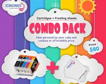 """Icinginks™ Combo- Prime Icing Sheets (8.5"""" X 11"""") 24 Sheets and Canon CLI-251/PGI-250 XL's Edible Cartridges (5 pack) High Yield"""