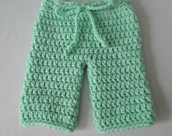 Baby Pants, Crochet Baby Pants, Newborn to 3 Months, Drawstring Baby Pants, Baby Clothes, Baby Photo Prop, Baby Shower Gift, New Baby Gift.