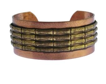 Vintage Copper Cuff Bracelet, Brass and Copper Bamboo Bracelet, Brass and Copper Cuff Bracelet, Mixed Metal Bracelet
