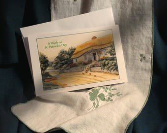 St. Patrick's Day Greeting Card, Charming Irish Cottage, with Irish Blessing Message