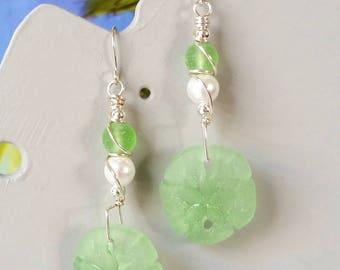 Green sand dollar white pearl silver wire wrapped earrings, beach earrings, tumbled faux seaglass earrings