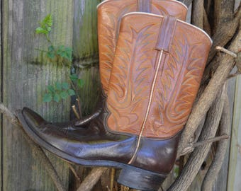 Vintage Two Tone Brown Texas Ranger Cowboy Boots with Blue, Orange, and Yellow Stitching
