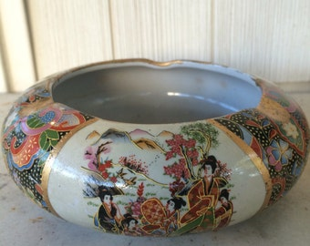 Vintage Asian Ashtray Hand Guilded