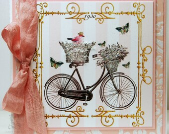 A Royal Ride, Parisian Inspired Single Note Card , European Flap Envelope and High Gloss Seal Included