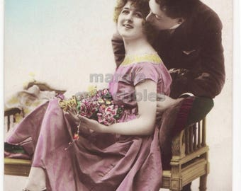 Romantic Couple from the 1910s, Man gives Woman a tender Kiss, ca1910s retro vintage antique photo postcard