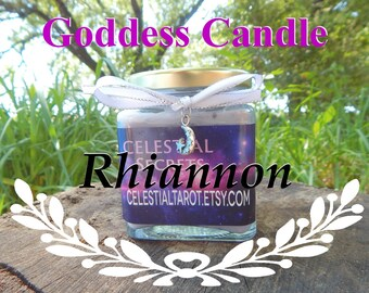 RHIANNON Ritual Jar Candle, GODDESS Prayer candle - 100% Hand-crafted with soy wax, herbs and essential oils