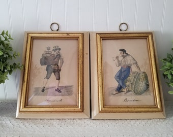 Vintage Pair. Mid Century Wall Decor. Italian L'Acquaiolo Water Carrier & Pescatore Fisherman in Bubble Glass Chunky Wood Frames. Set of 2.
