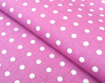 Polka dot purple and white Peas, oeko TeX certified cotton, 1/2 meter