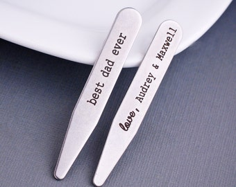Gift for Dad, Personalized Collar Stays, Christmas Gift for Dad from Kids, Engraved Gift for Dad