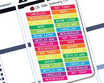 32 Cancelled/Rescheduled Stickers  - Planner Stickers for Erin Condren Life Planners - M3
