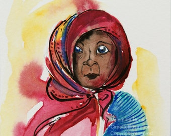 Original painting of a black woman with a pink scarf tied around the face, original watercolor of a pink portrait, original gouache