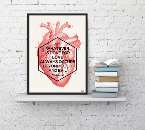 Nietzsche love quote, Anatomy art, Anatomical art, Wall art, Wall decor, Anatomy, Medical gift, Wholesale, Gift for doctor,  SKA182WA4