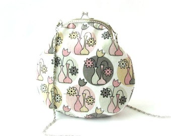 Grey pink flower small crossbody bag with long bag chain, cotton fabric shoulder purse, sling frame purse