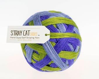 HOPEFUL HEATHER - vibrant hand dyed self striping sock yarn