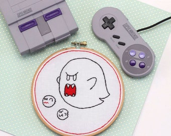 READY TO SHIP! Super Boo Super Mario Nintendo Halloween - Embroidery Wall Hang in 6 inch Wooden Hoop Frame
