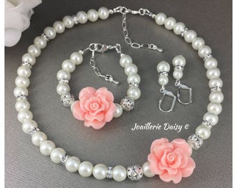 Flower Girl Necklace Flower Girl Jewelry Flower Girl Gift Blush Bracelet Pearl Jewelry for Flower Girl Blush Wedding Jewelry Bridal Party