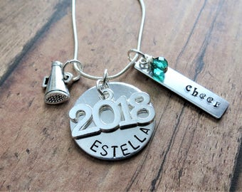 Cheer Necklace, Hand Stamped, Personalized, Megaphone Charm, Class of 2018, Cheerleader, Cheer Team Gift, Birthday Gift, Coach
