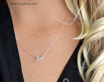 Aunt Necklace / Sterling Silver/ Delicate Necklace / Silver Necklace, new mom, new grandma, new aunt, new baby