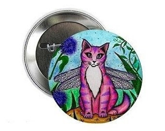 Dragonfly Fairy Cat Button Pink Cat Pin Fairy Cat Button Winged Cat Fantasy Cat Art 2.25 inch Pin Back Button Cat Lovers Gift
