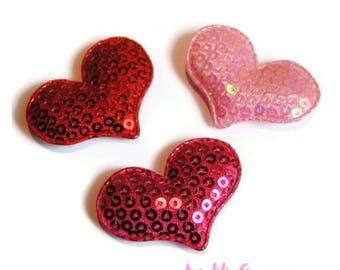 Set of 3 hearts fabric sequins embellishment scrapbooking card making (ref.310) *.