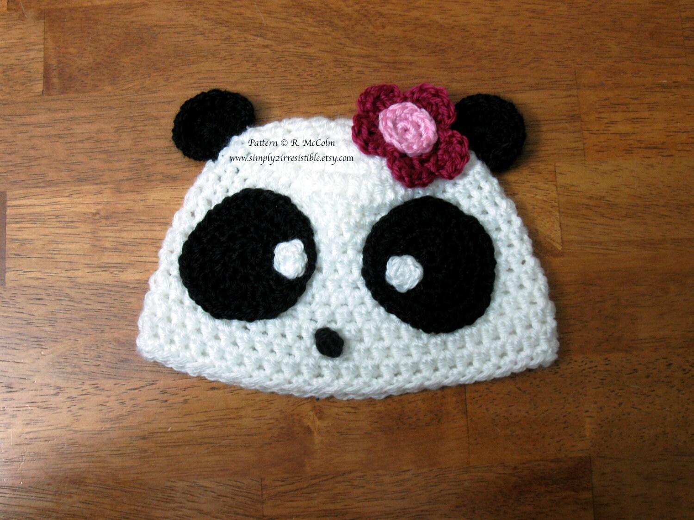Panda Bear Hat Pattern - Crochet Pattern 11 - Beanie and Earflap ...