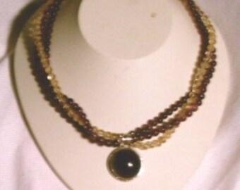Adjustable Multi-strand Citrine and Amethyst Pendant Necklace