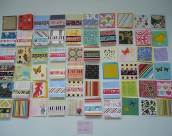 60 little mini notecards, lunch box love notes, mini shop notecards, tiny mixed lot notecards, 2 x 2 mini notecards, blank notecards, lot F2