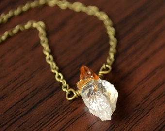 Raw Citrine Necklace, Dark Brass Chain, November Birthstone, Genuine Gemstone, Simple Jewelry