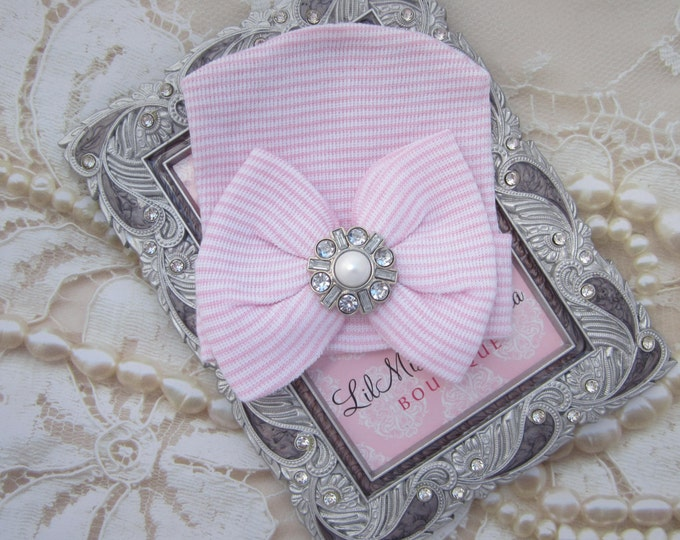 Newborn Hospital Hat, pink and white stripes with a pearl and rhinestone attachment, baby hat, from Lil Miss Sweet Pea Boutique
