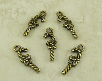 5 TierraCast Candy Cane Charms - Christmas Holiday - Brass Ox Plated Lead Free Pewter - I ship Internationally - 2347