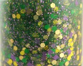 Nola - Mardi Gras nails green yellow purple glitter nail polish gold holographic 5 free nail polish vegan cruelty free handmade indie polish