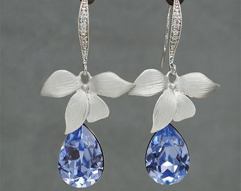 Orchid flower Earrings  Lavender Wedding Earrings, Teardrop Crystal Earrings, Purple violet Bridesmaid Jewelry Swarovski Rhinestone Earrings
