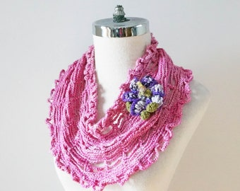 Floral Lily Infinity T-Shirt scarf, summer scarf, lily brooch scarf, merino wool and silk hand painted yarn, One of a Kind, ready to ship